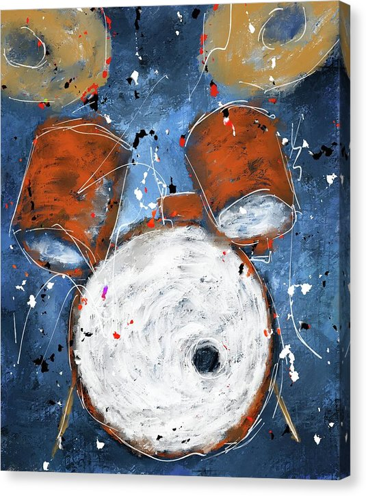 Drums On Blues - Canvas Print
