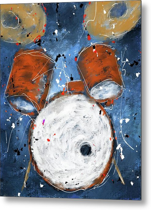 Drums On Blues - Metal Print