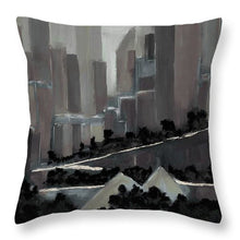 Load image into Gallery viewer, Edmonton Skyline Abstract Painting - Throw Pillow
