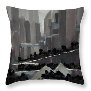 Edmonton Skyline Abstract Painting - Throw Pillow