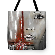 Load image into Gallery viewer, Female Half Face on Grey Abstract - Tote Bag