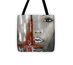Female Half Face on Grey Abstract - Tote Bag