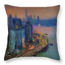 Load image into Gallery viewer, Hong Kong Skyline Painting - Throw Pillow