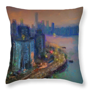 Hong Kong Skyline Painting - Throw Pillow