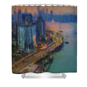 Hong Kong Skyline Painting - Shower Curtain