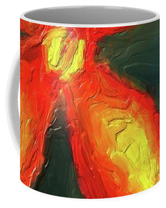 Impasto Red and Yellow Flower - Mug