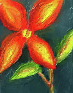 Impasto Red and Yellow Flower - Art Print