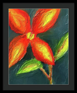 Impasto Red and Yellow Flower - Framed Print