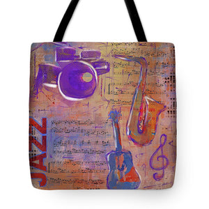 JAZZ Collage Painting - Tote Bag