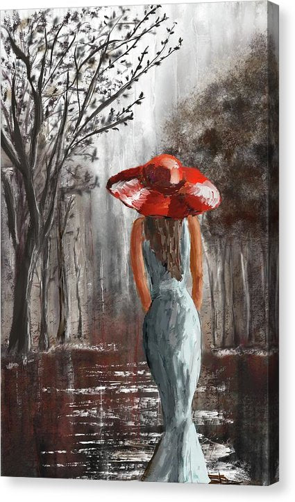 Lady In A Red Hat - Canvas Print