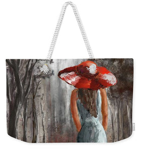 Lady In A Red Hat - Weekender Tote Bag