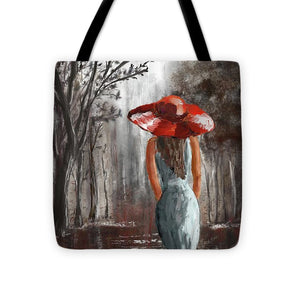 Lady In A Red Hat - Tote Bag