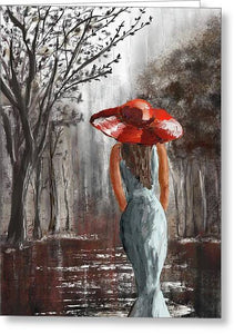 Lady In A Red Hat - Greeting Card