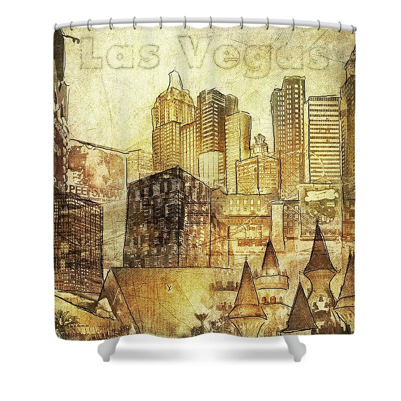 Las Vegas Collage Three - Shower Curtain