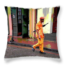 Load image into Gallery viewer, Man With Umbrella on Bourbon Street - Throw Pillow