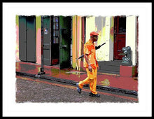 Load image into Gallery viewer, Man With Umbrella on Bourbon Street - Framed Print