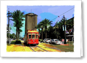 New Orleans Canal St Car 04 - Greeting Card