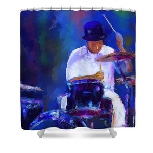 Drummer Painting - Shower Curtain