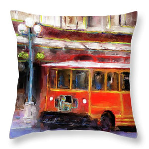San Antonio 5 Oclock Trolley - Throw Pillow