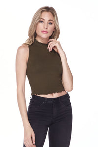 Mock Neck Crop Top - 4 Colors Available