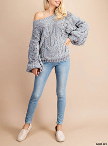 Off The Shoulder Long Sleeve Sweater - 2 Colors Available
