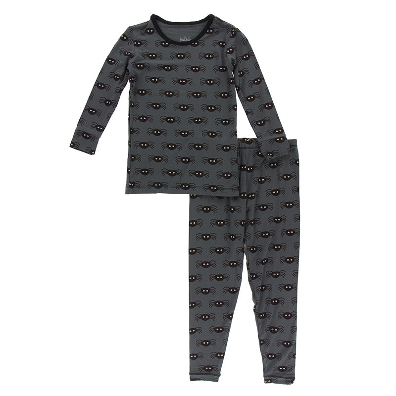 Kickee Pants Print Long Sleeve Pajamas - Stone Spiders