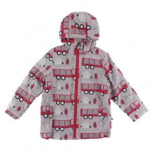 Kickee Pants Print Sherpa Lined Raincoat - Feather Firefighter