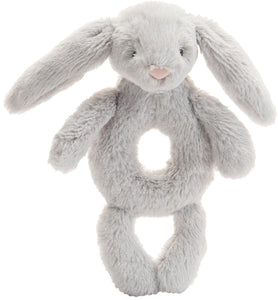 Bashful Grey Bunny Ring Rattle