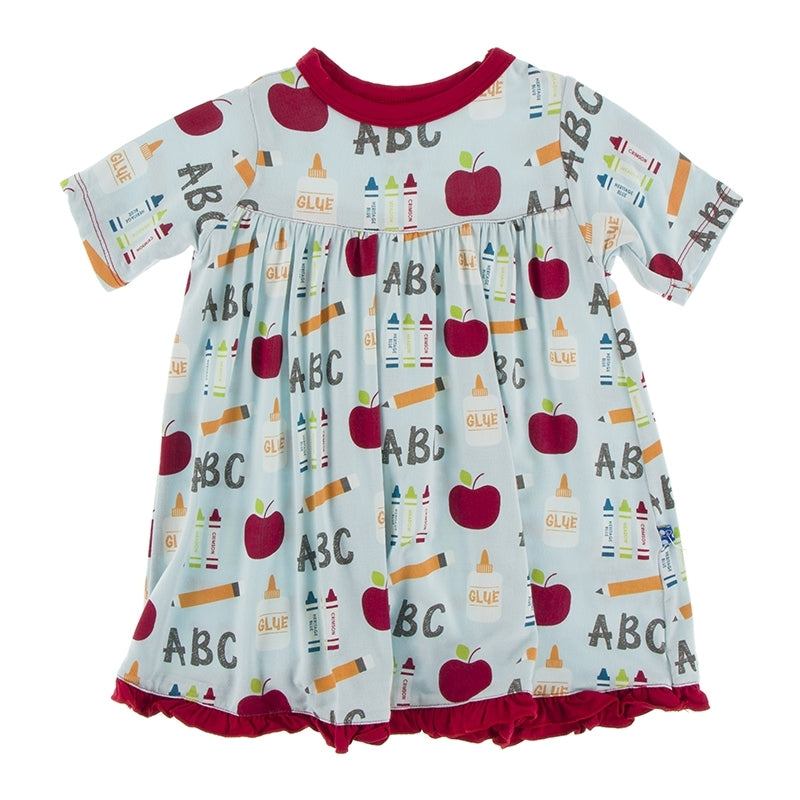 Kickee Pants Short Sleeve Swing Dress - First Day of School