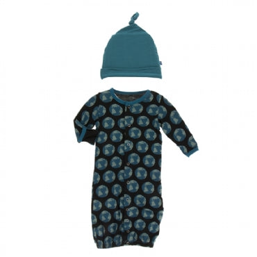 Kickee Pants Print Gown Converter& Knot Hat Set