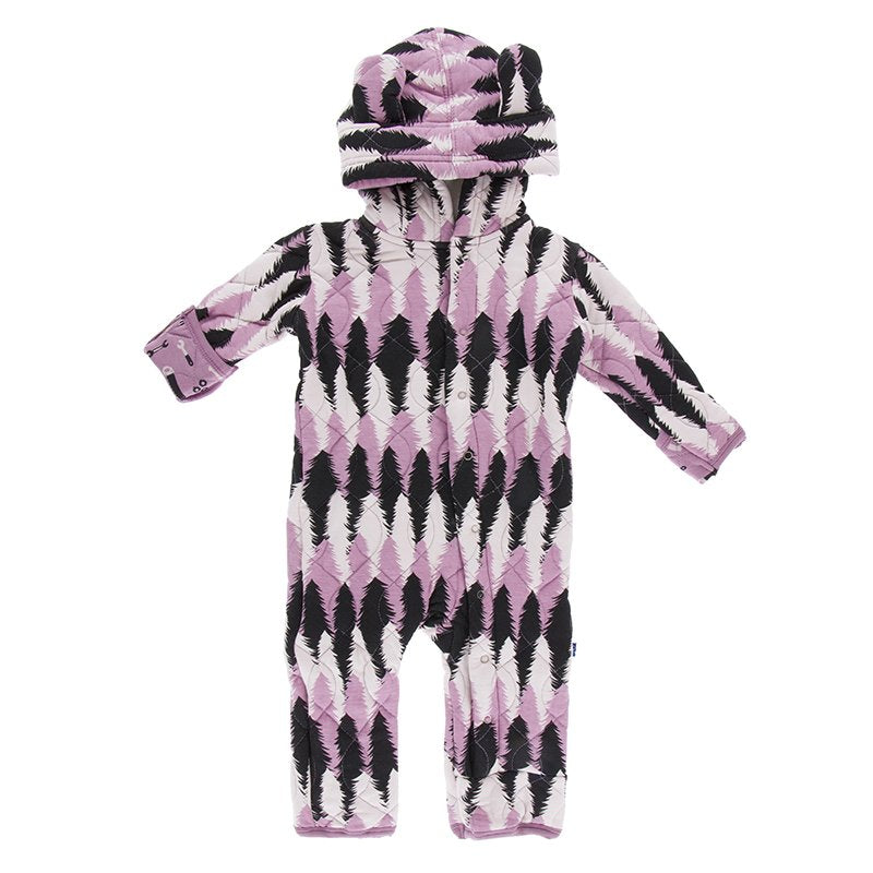Kickee Pants Print Quilted Hoodie Coverall with Sherpa Hood