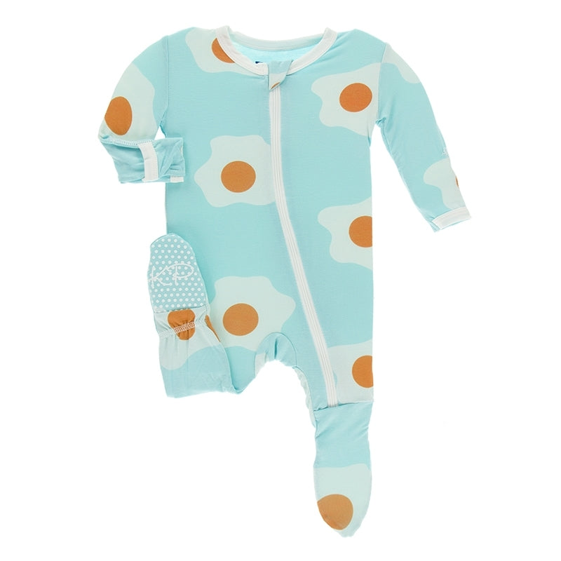 Kickee Pants Print Footie with Zipper - Iceberg Eggs