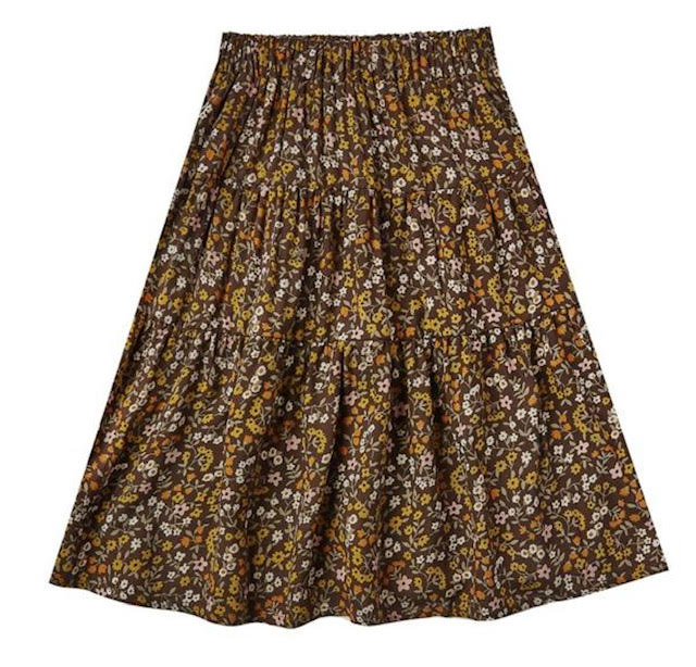 Rylee & Cru Dark Floral Tiered Midi Skirt