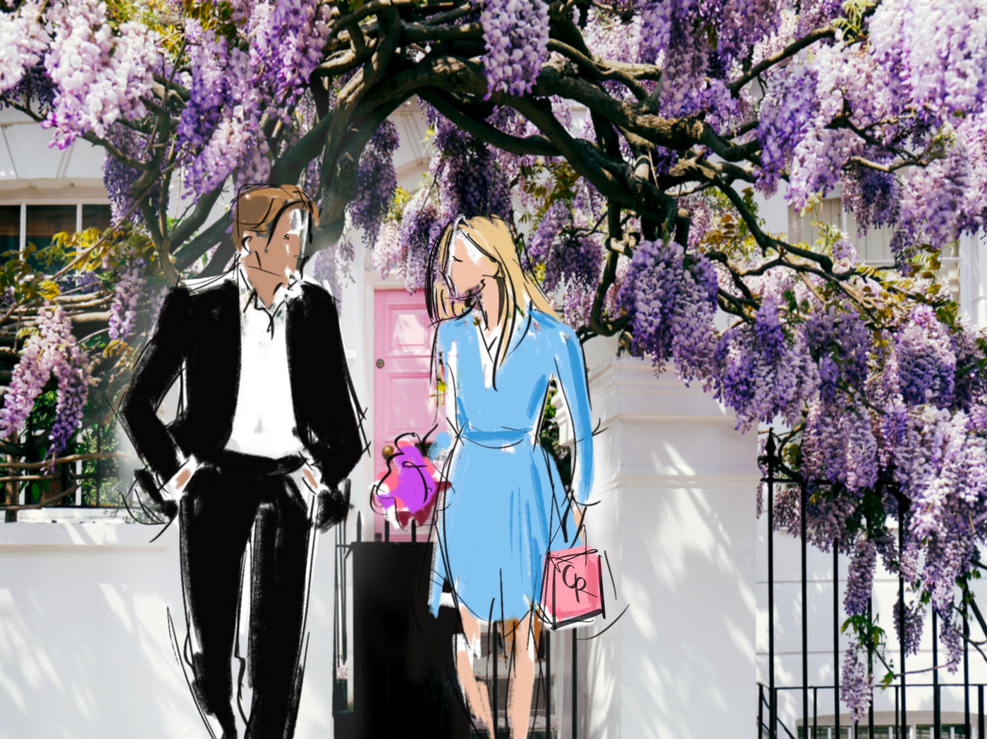 Illustration of couple leaving house