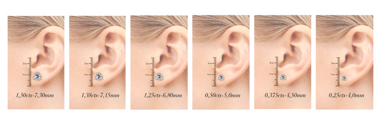 Martini Ice – Triple XXX stud earrings - Rose Gold 1 carat diamond