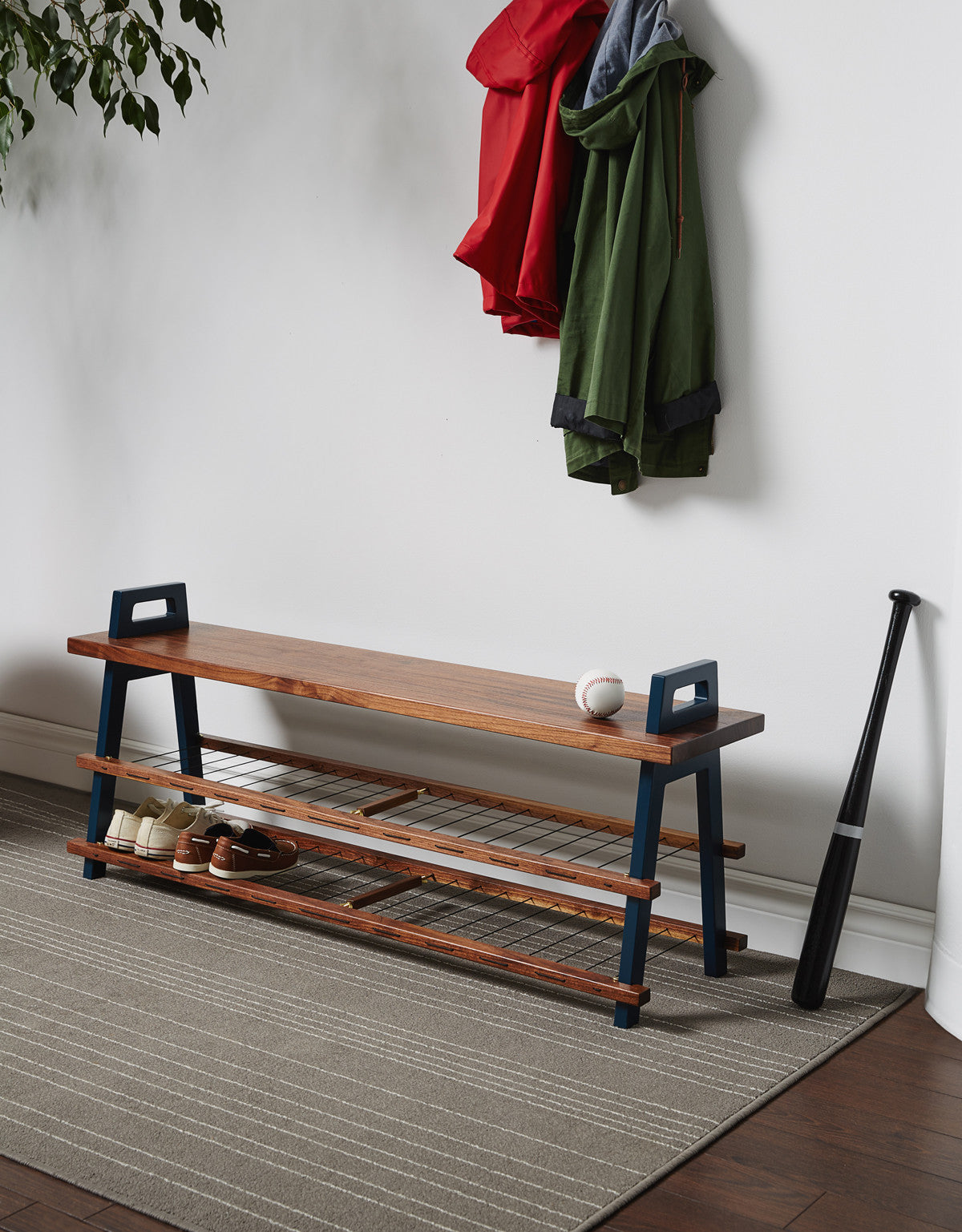 Entryway Storage Bench | Walnut wood - Us & Coutumes