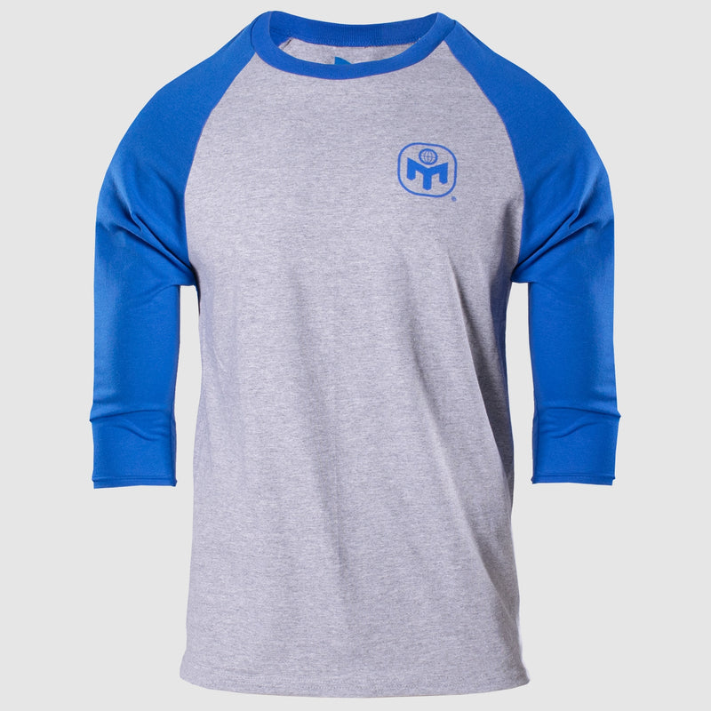 MENSA ADULT RAGLAN 3/4 SLEEVE TEE - SPORT GREY/ROYAL