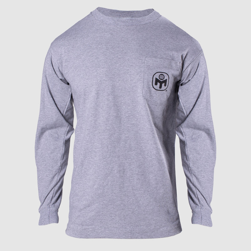 MENSA LOGO LONG SLEEVE POCKET TEE - DARK ASH