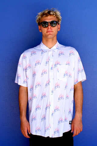 FLAMING DOPHIN WHITE BUTTON-UP SHIRT
