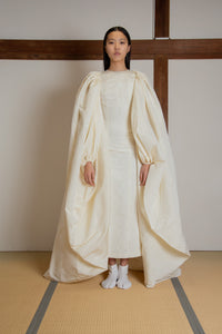 Puffed sleeves trail cape in silk faille moire (gown not included)