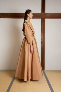 Oversized floor length coat in silk faille