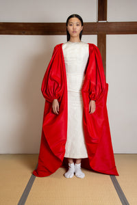 Puffed sleeves silk faille cape (gown not included)