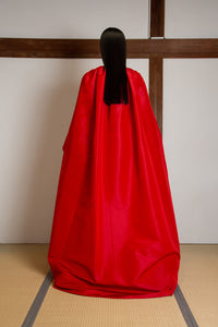 Square neckline fitted gown in silk faille (cape not included)