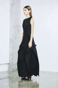 Paneled silk- gazar dress