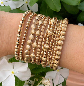 classic gold 2mm bead bracelet - bliss bar gold