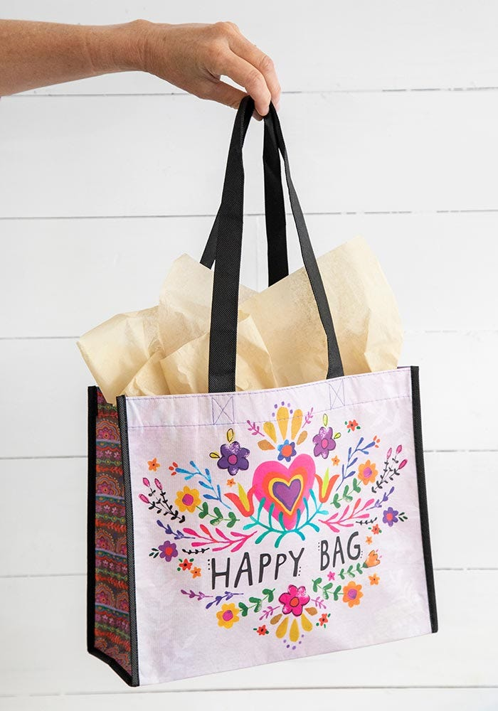 Large Pink Heart Happy Bag