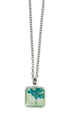 Small Square Lace Flower Seafoam Necklace
