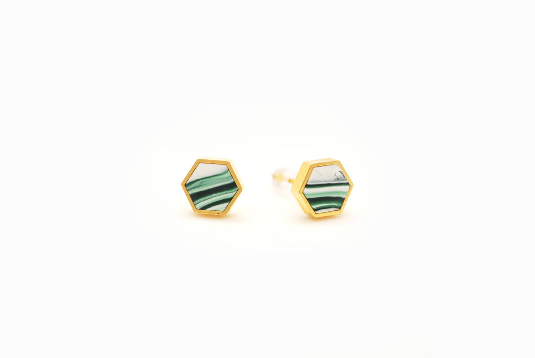 Forest + White Marble Hexagon Stud Earrings