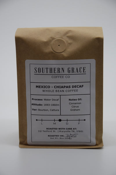 Mexico -Chiapas Decaf Whole Bean Coffee