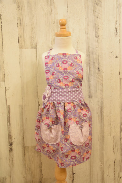 Girls Apron with purple floral and polka dot prints